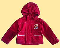 Курточка детская демисезонная красная с капюшоном, микровельвет, р.92