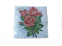 Салфетка бумажная свадебная (ЗЗхЗЗ, 20шт) La Fleur  Розы для любимой  (410) (1 пач)