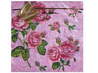 Салфетки бумажные трехслойные (ЗЗхЗЗ, 20шт) Luxy  Букет роз (004) (1 пач)