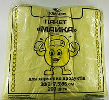 Пакеты майка без рисунка №30*55 Крепыш Сomserv(200шт) (1 пач)