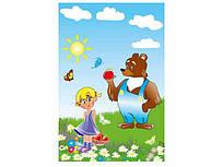 """Пакет поліетиленовий подарунковий маленький з вирубний ручкою (20*30) """"Даша і ведмідь"""" ХВГ (100 шт)"""