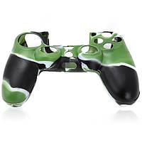 Силиконовый чехол для джойстика PS4 камуфляж, силиконовый чехол для беспроводного джойстика PS4 Green-black