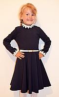 Красивое детское школьное платье с ажуром и пояском