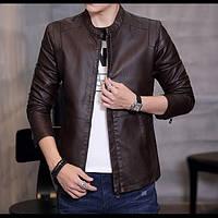 Легкая мужская кожаная куртка. Модель 6217.
