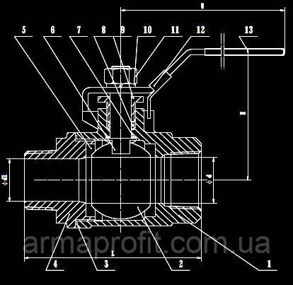 Армапрофит Кран шаровый двухсоставной полнопроходной