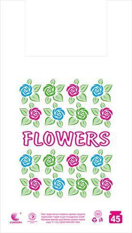 Пакеты майка с рисунком 34*58 Цветы (5цветов)  ''Комсерв'' (100 шт)