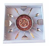 Настенные часы лопатки ложки ножи с пиццей(26*26см)