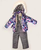 Куртка зимняя  утепленная  и полукомбинезон  для девочек