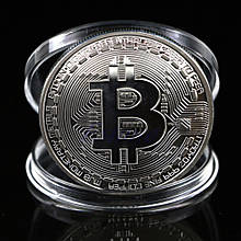 Биткоин сувенирная монета посеребрение