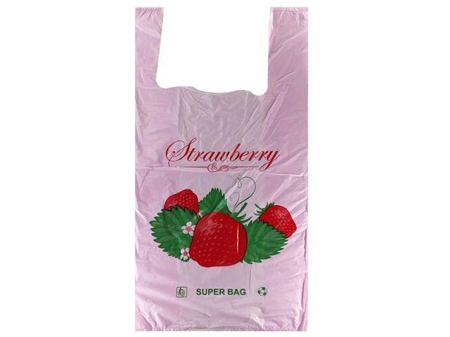 "Пакеты майка с рисунком ""SUPER BAG"" 29*55 Клубника (100 шт)"