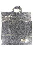 """Пакет с петлевой ручкой для упаковки подарков черный """"Листья матовые1(38х42), 50 шт\пач"""