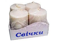 Свеча декоративная  цилиндрическая набор 55мм (д37мм) БЕЛАЯ (4 шт)