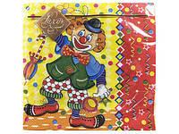 Салфетки бумажные сервировочные цветные детские (ЗЗхЗЗ) Luxy  Веселый клоун, 20шт\пач