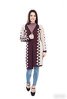 Модный молодёжный вязаный кардиган лен+каштановый 44 и 46 размер