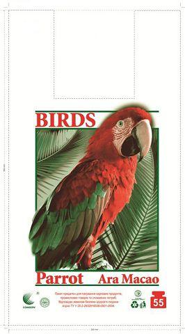 Пакеты майка с рисунком  30*55 Попугай ''Комсерв'' (100 шт)