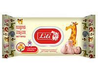 """Влажные детские салфетки гипоаллергенные,  Lili  """"Без запаха"""" клапан,  120 шт\пач"""