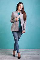 Стильный молодёжный укороченный  вязаный кардиган  светло-серого цвета, фото 1