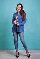 Женский укороченный  вязаный кардиган с карманами  светло-индиго цвета, фото 1