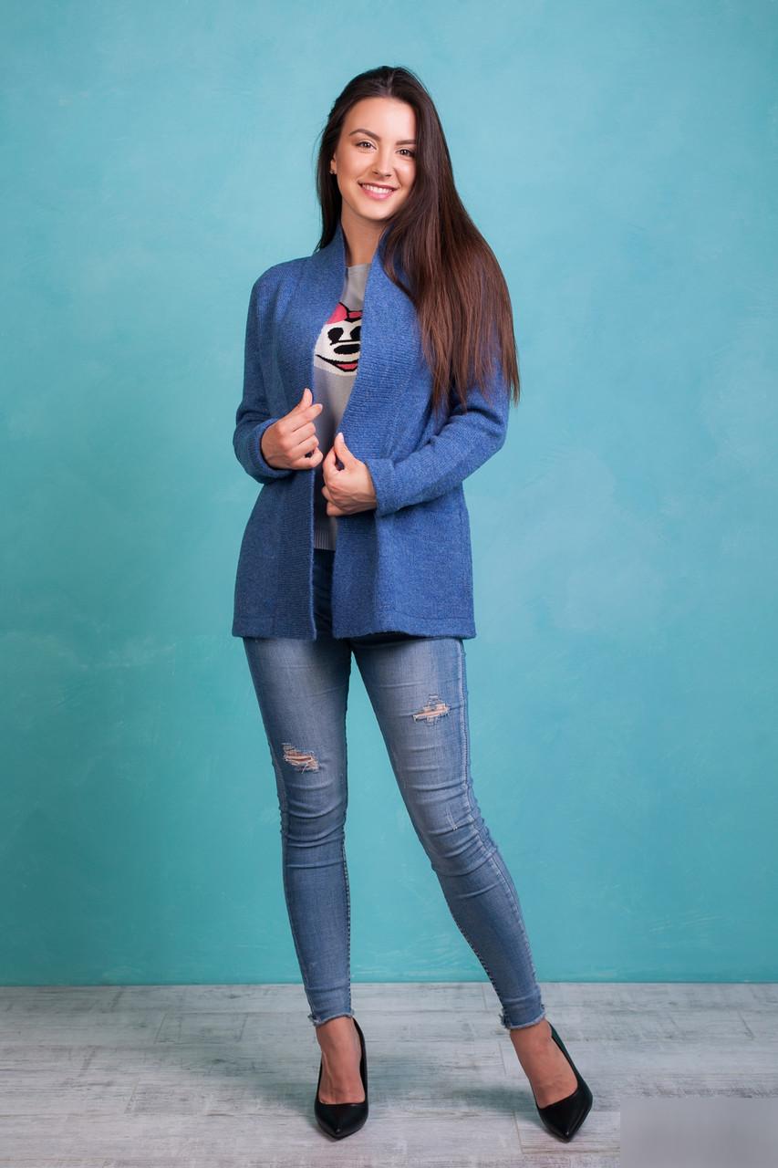 Женский укороченный  вязаный кардиган с карманами  светло-индиго цвета
