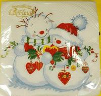 Салфетка праздничная с рисунком (ЗЗхЗЗ, 20шт)  La FleurНГ Снежная любовь (119) (1 пач)