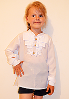 Нарядная школьная блуза с бантиками, размеры 128-158