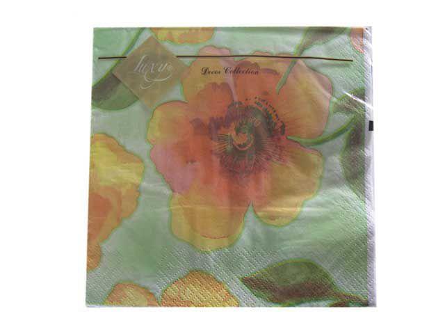 Салфетки 3-слойные Банкетные (ЗЗхЗЗ, 20шт) Luxy  Цветочный цвет (709) (1 пач)
