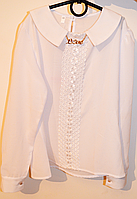 Нарядная школьная блуза с воротником белого цвета, размеры 128-158
