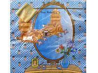 Декоративная  бумажная салфетка для детского праздника (ЗЗхЗЗ) Luxy  Кит Персик, 20шт\пач