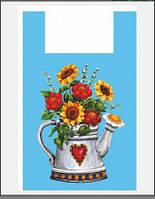 """Полиэтиленовые фасовочные пакеты типа """"майка"""" с рисунком 38*60 """"Чайник"""" Леоми, 50шт\пач"""