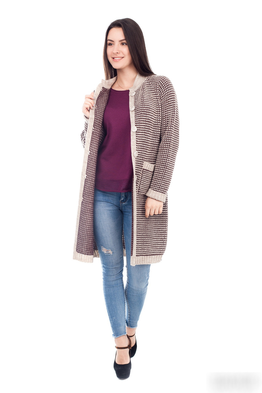 Модный  женский вязаный кардиган  с карманами и поговицами  44 ,46, 48 размер