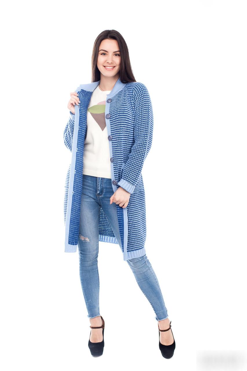 Красивый  вязаный кардиган  с карманами  голубой+електрик  44 ,46, 48 размер