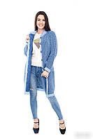 Красивый  вязаный кардиган  с карманами  голубой+електрик  44 ,46, 48 размер, фото 1