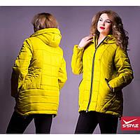 """Демисезонная женская куртка с карманами """"Фаворит"""" размер 50-58"""