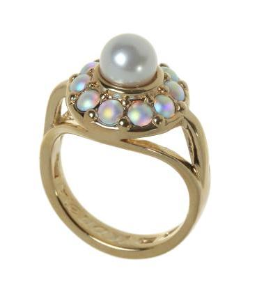"""Кольцо """"Бариэри"""" с кристаллами Swarovski, покрытое золотом (j710p070)"""