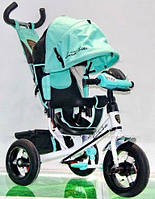 ТВелосипед трехколесный Azimut Air Lambortrike L2B ( Lamborghini)бирюзовый надувные колеса с фарой
