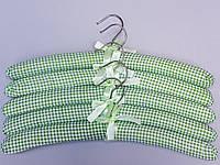 Плічка вішалки м'які тканинні для делікатних речей квадрат зеленого кольору, довжина 38 см,в упаковці 5 штук