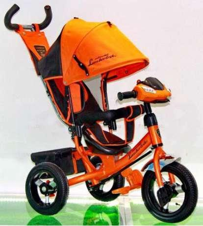 Велосипед трехколесный Azimut Air Lambortrike L2B ( Lamborghini)оранжевый надувные колеса с фарой