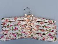 Плечики вешалки тремпеля мягкие тканевые для деликатных вещей цветастые, длина 38 см,в упаковке 5 штук