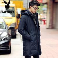 Мужское зимнее пальто-пуховик. Молодежное с капюшоном. Модель 6220.