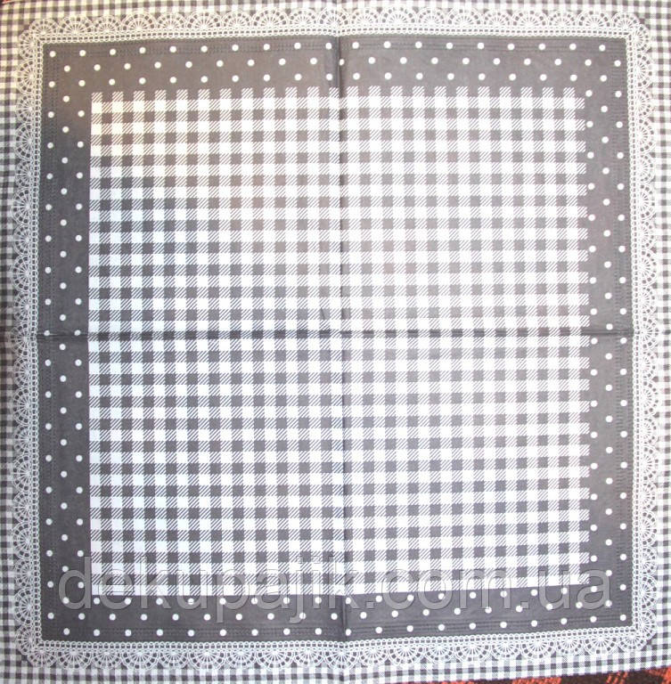 Декупажная салфетка Клетка и кружево чёрная 3544