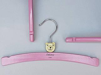 Плечики длина 26 см,  вешалки тремпеля деревянные Fashion мишка светло-розового цвета