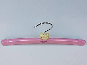 Плічка довжина 26 см, вішалки тремпеля дерев'яні Fashion ведмедик світло-рожевого кольору, фото 2