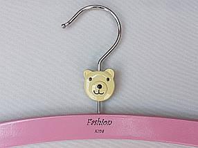 Плечики длина 26 см,  вешалки тремпеля деревянные Fashion мишка светло-розового цвета, фото 2