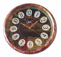 Настенные часы Compass Quartz под мрамор с позолотой (белый, коричневый), фото 1
