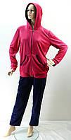 """Женский костюм """"Велюр"""" сине-розовый, 52-60 размер"""