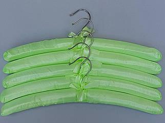 Плечики вешалки мягкие сатиновые для деликатных вещей салатового цвета,  длина 38 см, в упаковке 5 штук