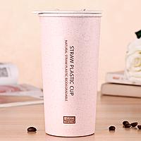Эко-чашка из биопластика (400 мл) розовая, фото 1