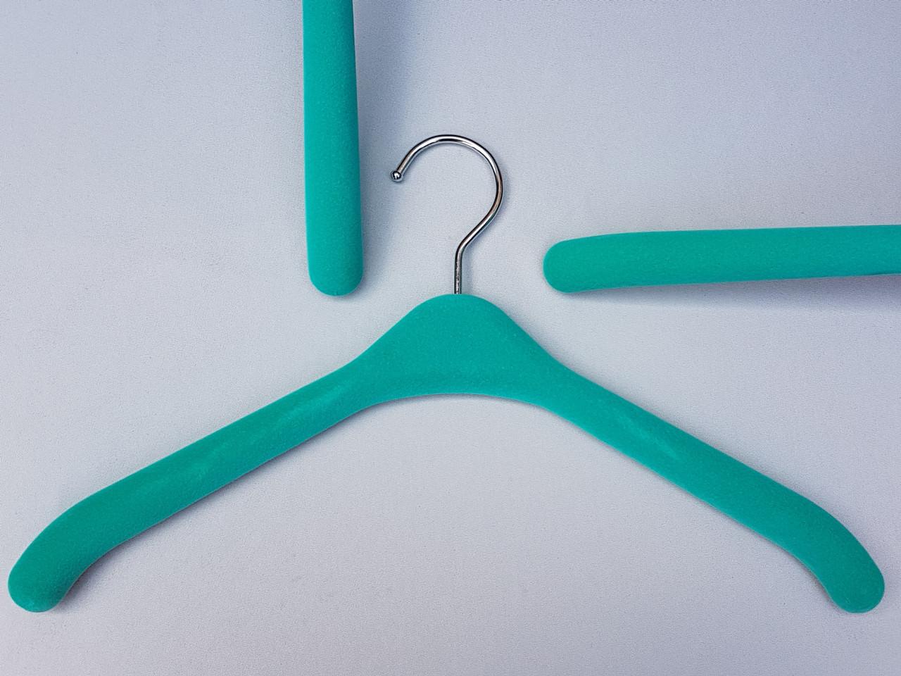 Плечики вешалки тремпеля флокированные (бархатные, велюровые) бирюзового цвета, длина 38,5 см