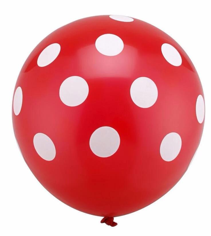 """Повітряна кулька """"Божа Корівка""""пастель червоний в білий горох кругова друк. 12 дюймів / 30см."""