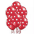 """Повітряна кулька """"Божа Корівка""""пастель червоний в білий горох кругова друк. 12 дюймів / 30см., фото 2"""